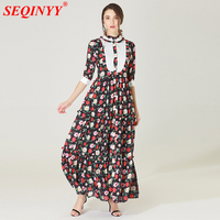 Grace Fiagile Women Dress 2018 Spring High End Half Sleeve Stand Collar Sweet Roses Print Stringy