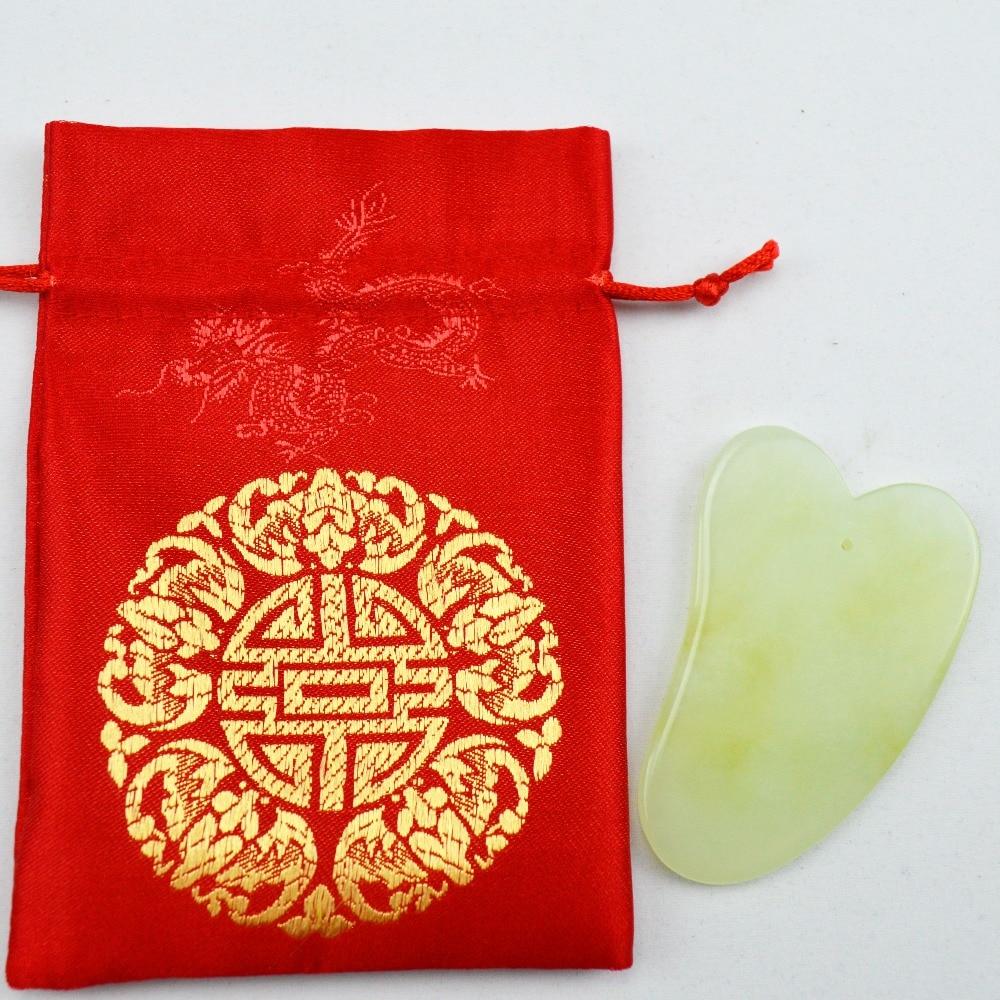2 Pcs natural light green jade guasha board massage tool facial treatment scraping tool for body health care