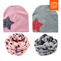 2017 Baby Hat Star Pattern Cute Kids Cap Scarf Baby Girl Boy Soft Warm Cotton Beanie O Ring Neckerchief Scarves bonnet enfant