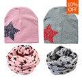 2017 sombrero del bebé patrón de estrella niños lindos cap bufanda niña boy soft warm anillo o pañuelo para el cuello pañuelos de algodón beanie bonete enfant