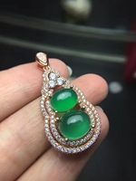 natural green chalcedony gem pendant S925 silver Natural gemstone Lucky strokes gourd Pendant Necklace women party fine jewelry