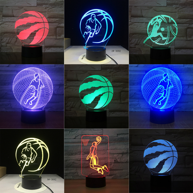 Basketball Raptors 3D LED Night Light for Club Home Office Room Decor Light Gift for Kid Child Colorful Table Desk Lamp Dropship