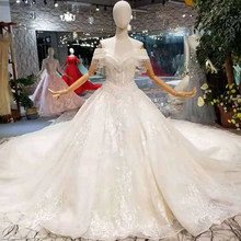 LSS221 royal long train wedding dresses off shoulder tassel shiny lace beauty wedding gowns crystal v-neck bride dress wedding(China)
