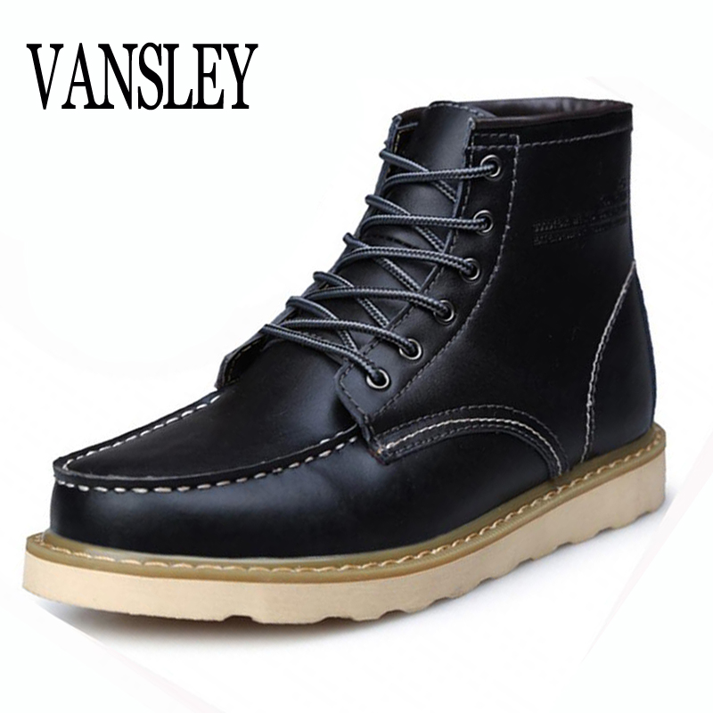 Super Warm Men's Winter Real Leather Ankle Boots Men Autumn Waterproof Snow Boots Leisure Martin Autumn Boots Mens Autumn Shoes 2016 autumn