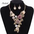 Fashion Multilayer Gold Plated Purple Crystal Rhinestone Leave Bohemia Flower Statement Necklaces Jewelry Set For Women Wedding