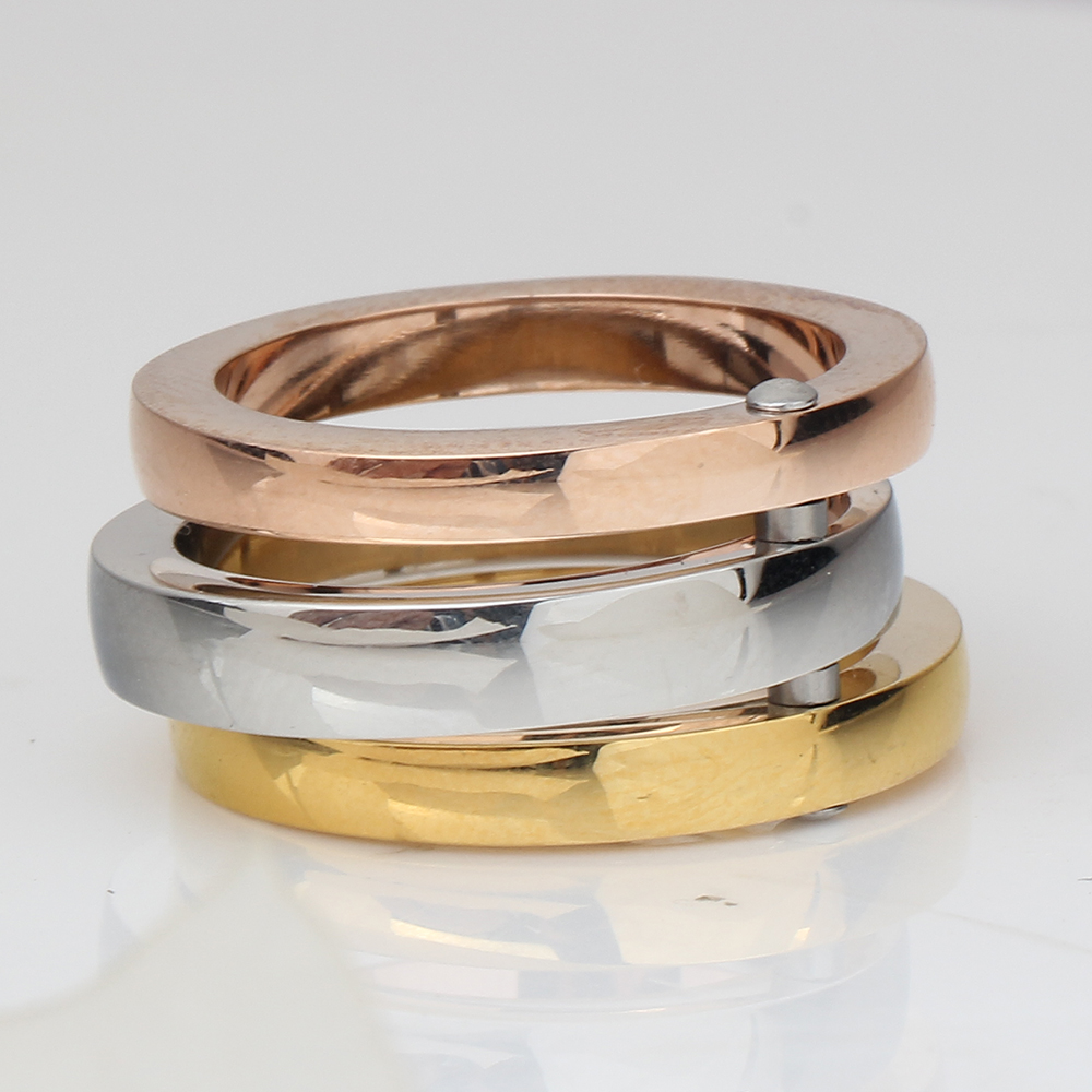 NIBA High Quality 3 Pieces/Set Rose Gold/Silver Color Titanium Steel Rings For Women Jewelry Anniversary Ring Set 4