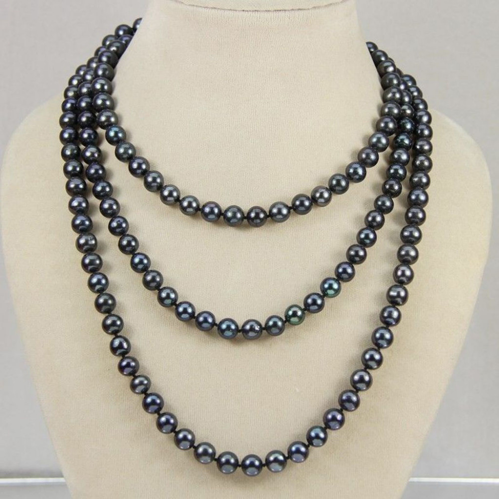 """Charming 8-9mm Tahitian Black Natural Pearl Necklace 18/"""" AA"""