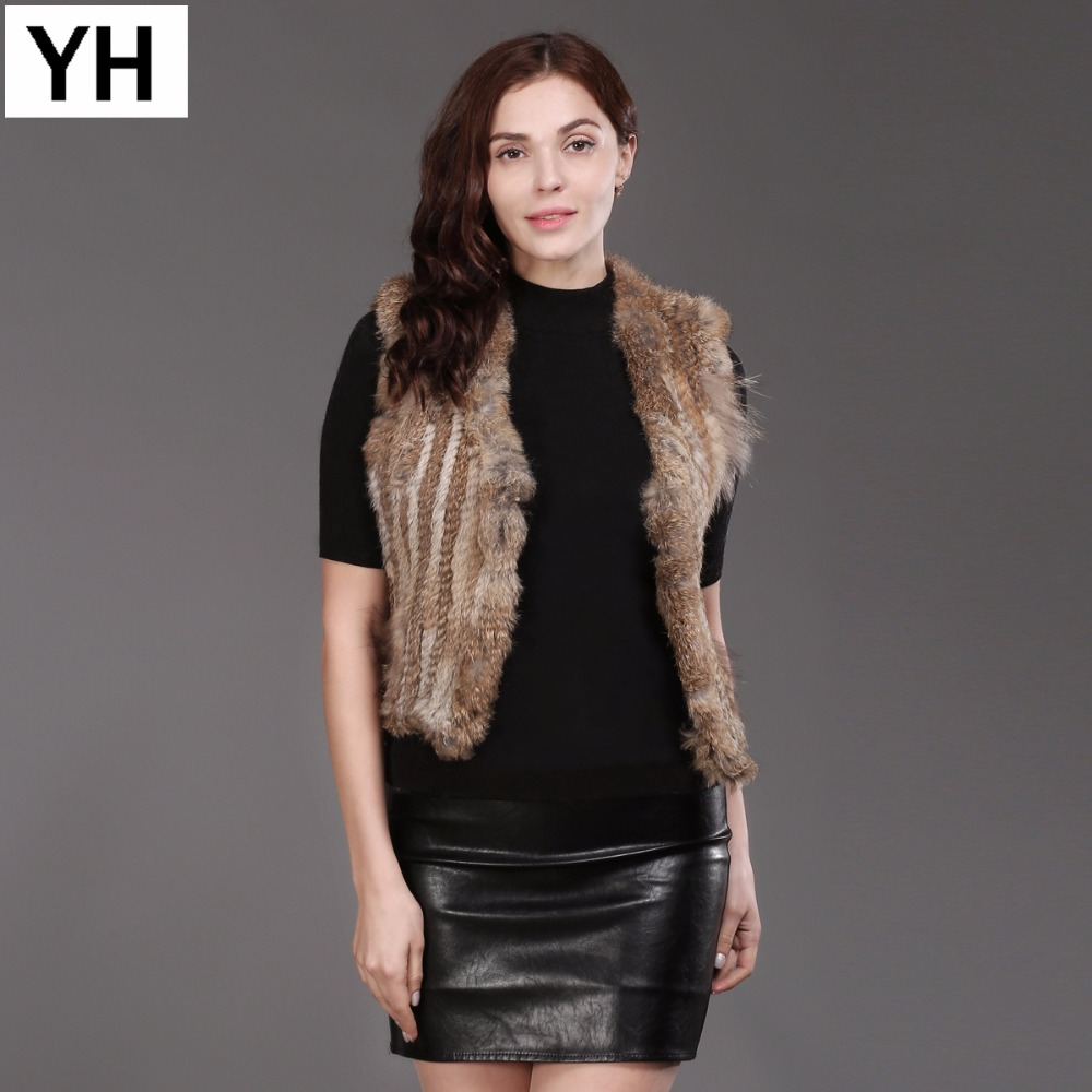Women Real Rabbit Fur Vest Spring Autumn Lady Knitted Handmade Rabbit Fur Sleeveless Jacket 100% Natural Soft Rabbit Fur Gilet