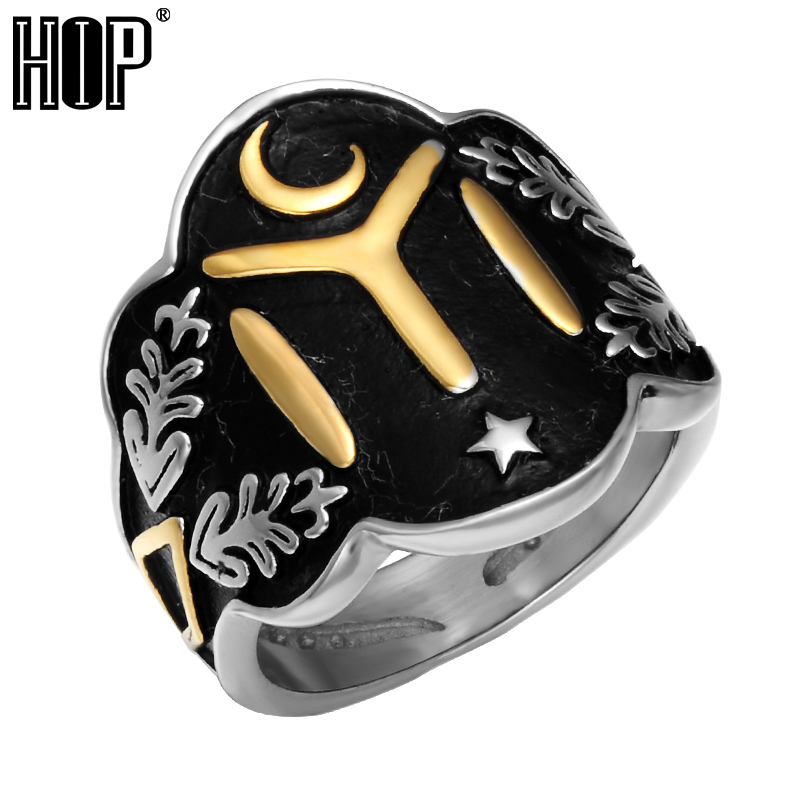 HIP Size 7-13 Ottomans Seal Kayi Ertugrul Mens Rings Cool Two Tone Vintage Stainless Steel Star Moon Ring for Men Punk Jewelry metal moon and star shap cuff ring
