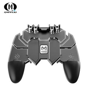 Image 1 - Ak66 seis dedo tudo em um pubg controlador móvel gamepad pubg gatilho móvel l1r1 shooter joystick almofada de jogo para ios android