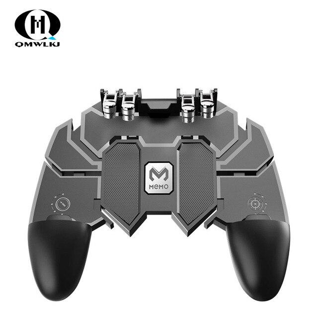 Ak66 seis dedo tudo em um pubg controlador móvel gamepad pubg gatilho móvel l1r1 shooter joystick almofada de jogo para ios android