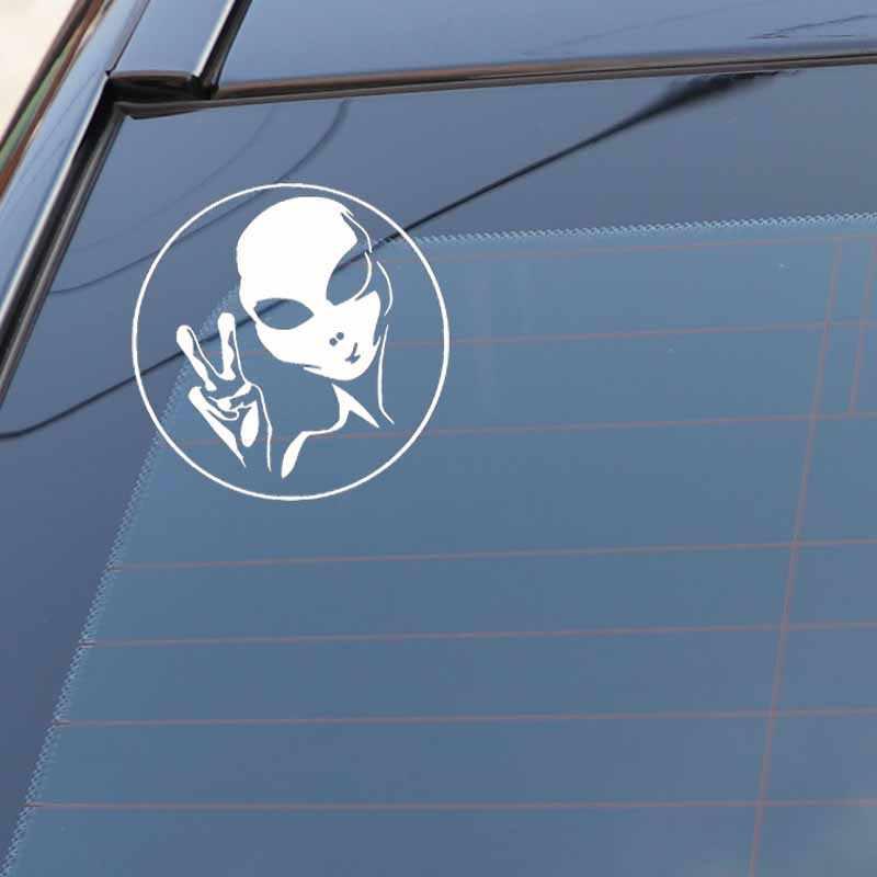 YJZT 14.2 ซม.* 14.2 ซม.UFO Alien บุคลิกภาพรถสติกเกอร์ไวนิลรูปลอกสีดำ/เงิน C3-0518