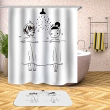 Cartoon Shower Curtain Boy Girl Plant Waterproof Bath Curtains For Bathroom Bathtub Bathing Cover Extra Large