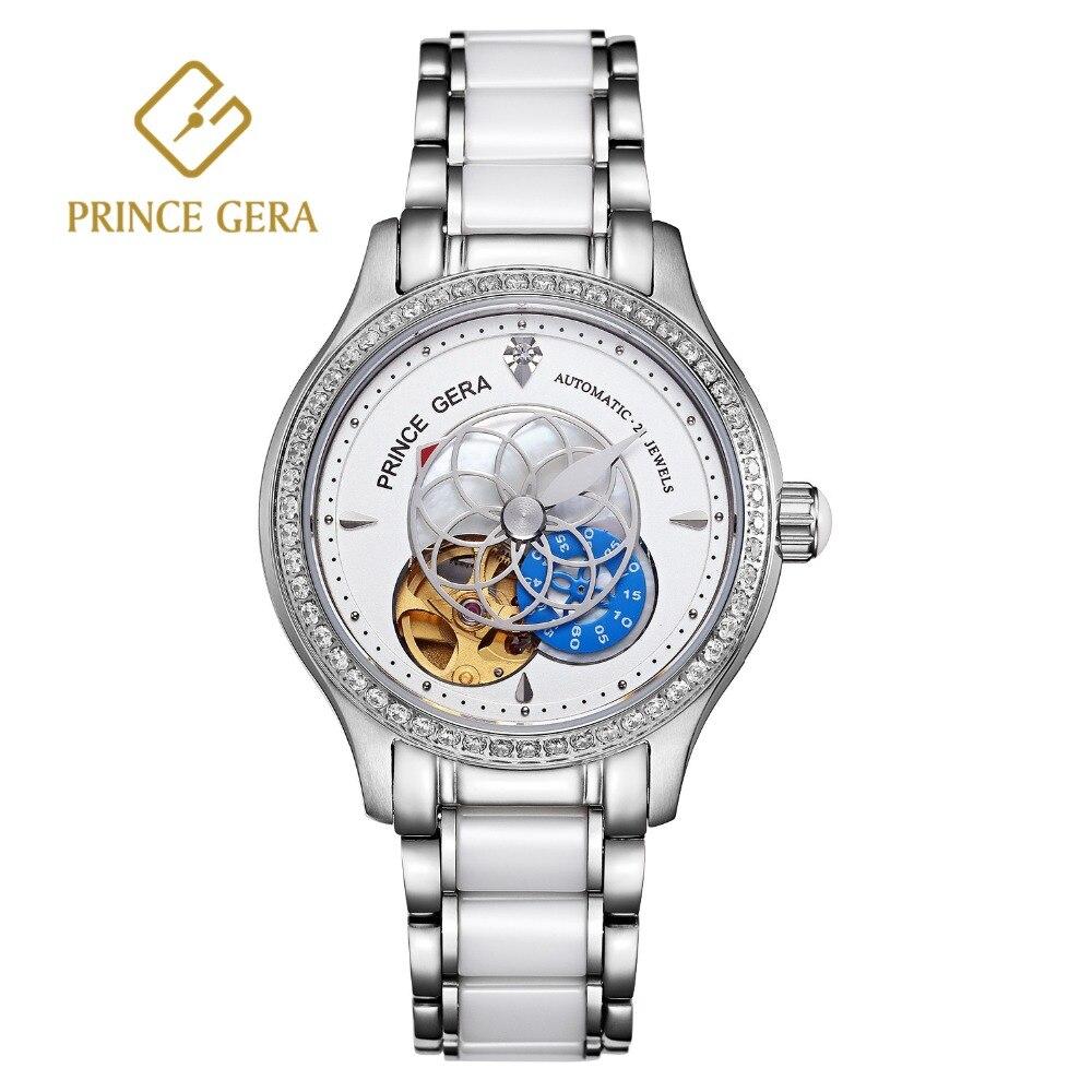 Flor para Mulheres Príncipe Gera Nova Prata Esqueleto Relógio Mecânico Automático Moda Cerâmica Banda Ponteiro Dial Senhoras Relógios 2020