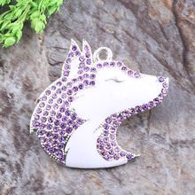 Free Shipping 10pcs/lot Cordial Custom Design Rhinestone Chunky Necklace Snow Wolf Character Alloy Pendant
