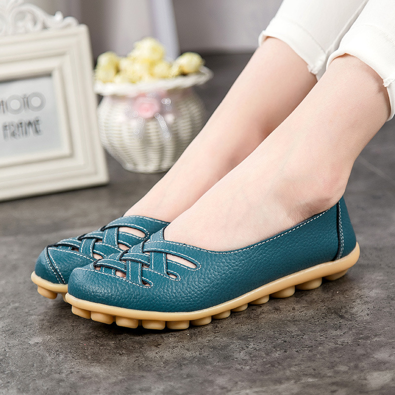 Leather Women Flats Shoes Seoul Hollow Soft Slip on Casual Woman Fashion Loafers Ladies Plus Size 42 Zapatos Mujer