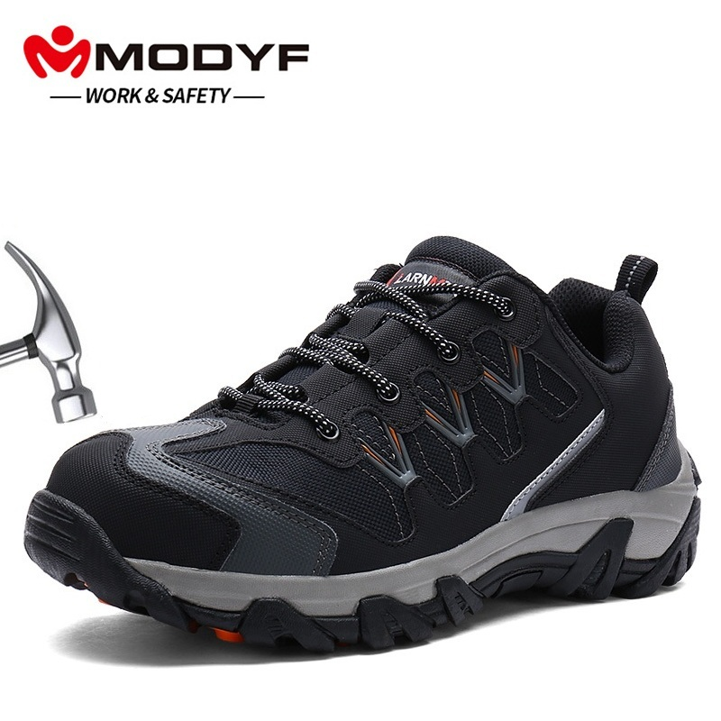 MODYF Men Steel Toe Cap Work Safety Shoes Casual Reflective Breathable Outdoor Sneaker Boots Puncture Proof