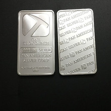 10 Pcs Non Magnetic The Pan American Hammer ingot 1 OZ silver plated badge 50 mm x 28 souvenir collectible coin bar