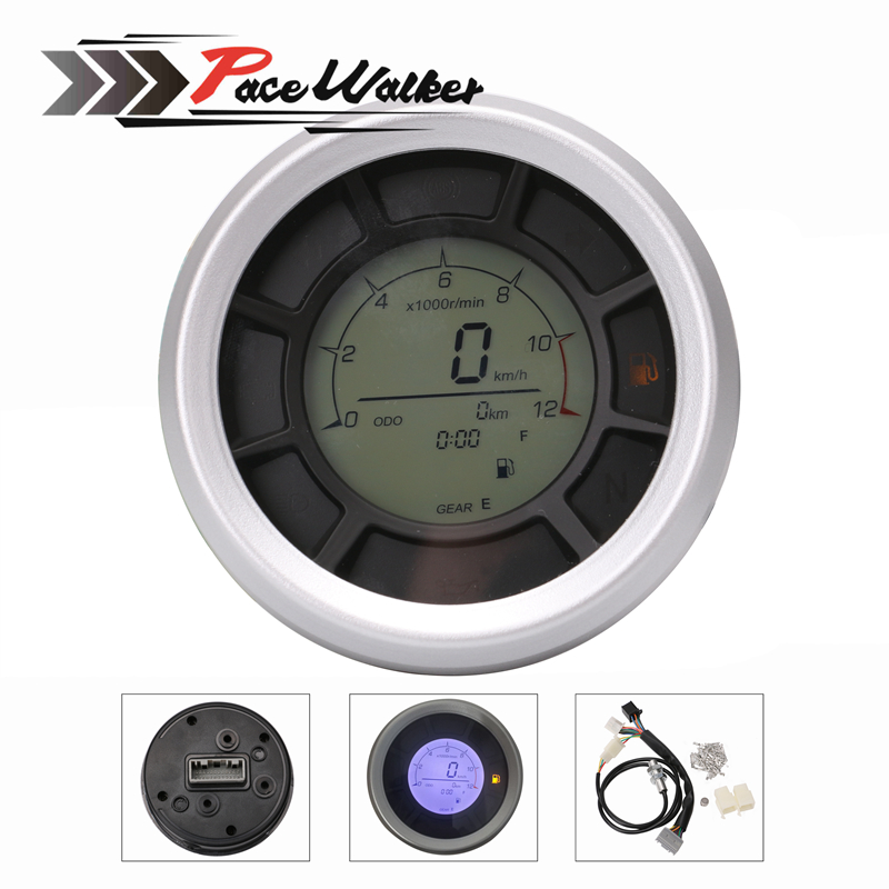 Free shipping 12000RPM 199km/h LCD Digital 95mm Odometer Speedometer Tachometer Gauge for Universal Motorcycle
