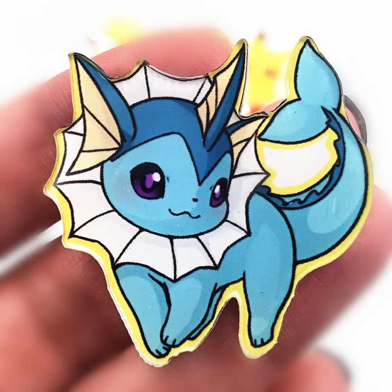 1PCS New Arrival Acrylic Cute Vaporeon Brooch Anime Pokemon Icon High Quality Badge For Decoration On Clothes Hat Bag Scarf