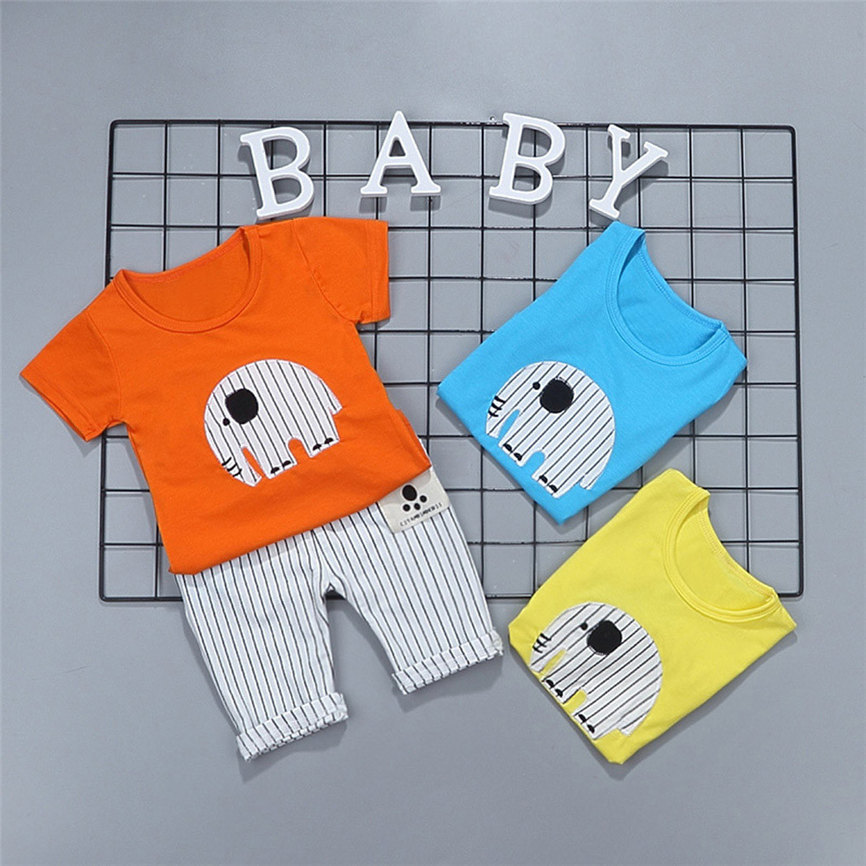 2018 Casual Sports Suits 2Pcs Toddler Baby Girls Boys Cartoon Elephant Tops T Shirt Pants Outfits Set Dropshipping 0306