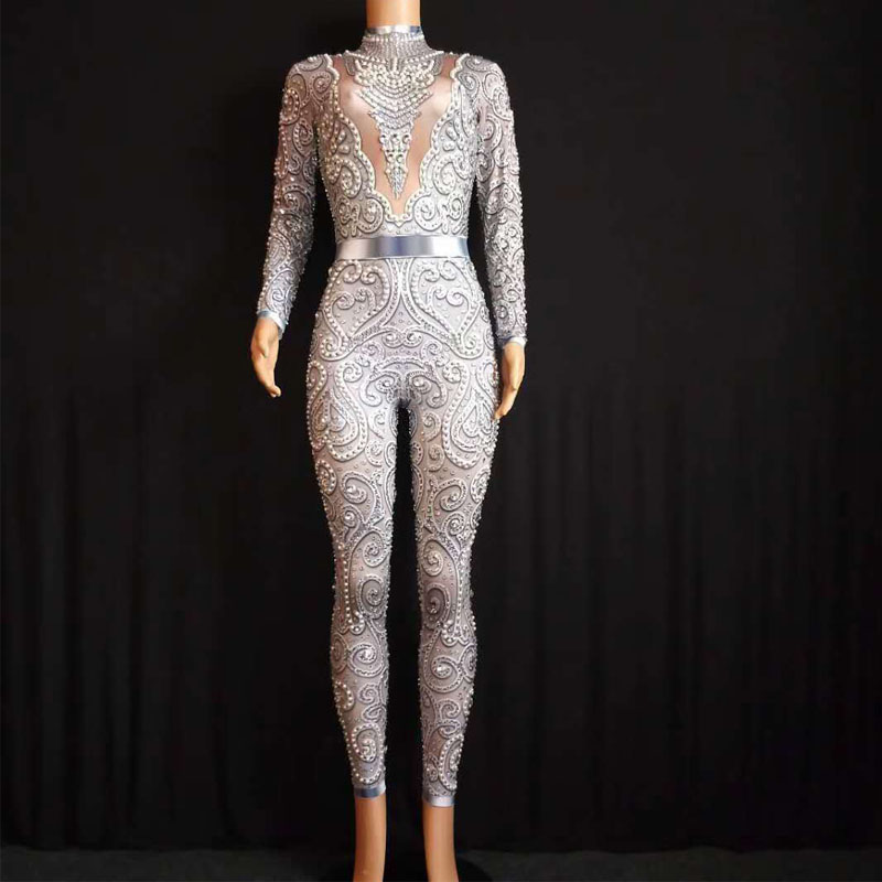 2020 Sparkly Crystals Jumpsuit Singer Costume Stretch Outfit Women Sexy Nude Leggings Bodysuit Costume Dance Stage Wear Female