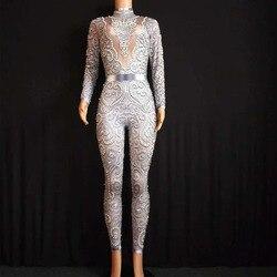 2020 Sparkly Kristalle Overall Frauen Sexy Nude Leggings Body Kostüm Dance Bühne Tragen Sängerin Kostüm Stretch Outfit
