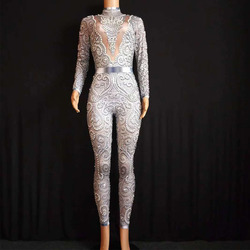 2020 Sparkly Kristallen Jumpsuit Vrouwen Sexy Naakt Leggings Bodysuit Kostuum Dance Stage Wear Zangeres Kostuum Stretch Outfit