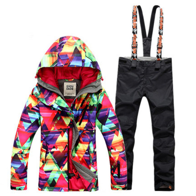 320416e1f4 GSOU SNOW Women s Ski Suit Winter Long Warm Waterproof Windproof Breathable  Ultra Light Ski Jacket Ski Pants For Women Size XS-L