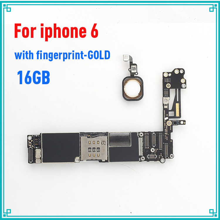 gold original motherboard for iphone 6 4.7inch 16GB with fingprint with Touch ID mainboard 100% tested logic board