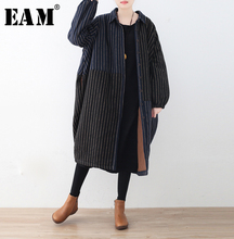 [EAM] 2018 New Autumn Winter Women Black Striped Loose Casual Open Stitch Full Sleeve Button Vintage Fashion Tide Coat OA927
