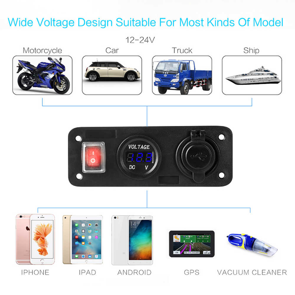 Dual USB Auto Car Cigarette Lighter Socket Splitter With LED 12V Dual Socket USB Adapter Charger With Car Cigarette Light