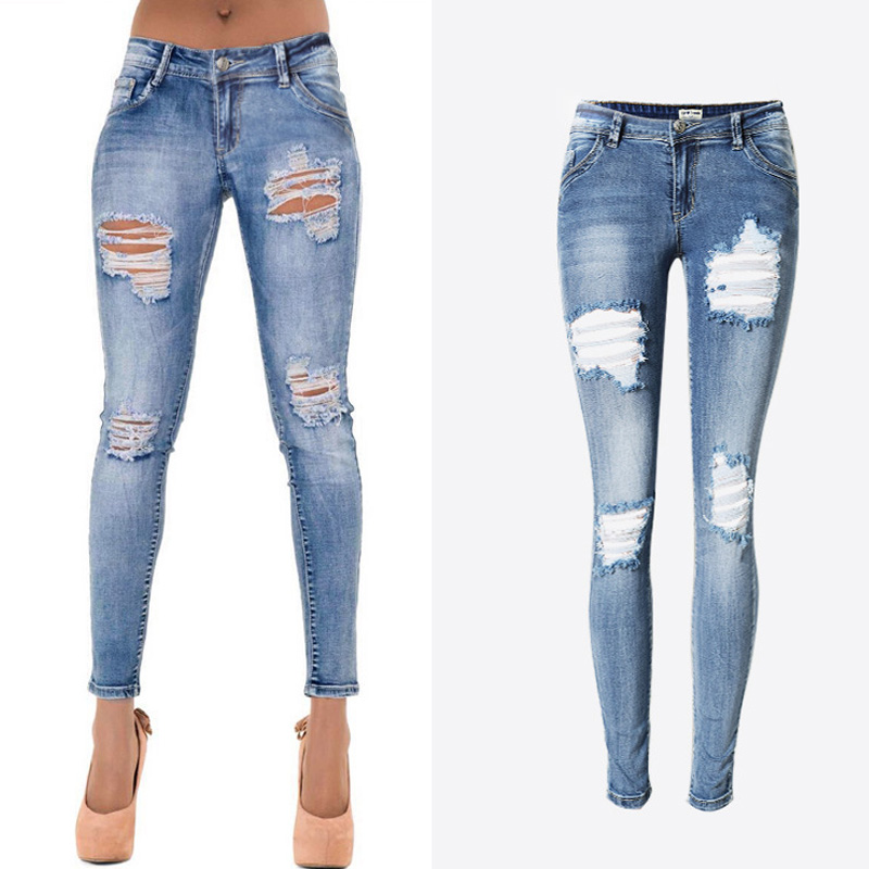 Plus Size Elastic Women Ripped Jeans Fashion Knee HolesBleached Freddy Skinny Distressed Jeans Sexy Denim Pants Femme ZIH035  giyi plus size 5xl 4xl mid waisted skinny distressed jeans women sexy ripped denim pants femme slim trousers ladies summer 2017