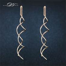 Unique Twisted Bar Long Line Chain Earrings Silver/Rose Gold Color Fashion Drop/Dangle Earring Jewelry Ear Cuff For Women DFE243(China)