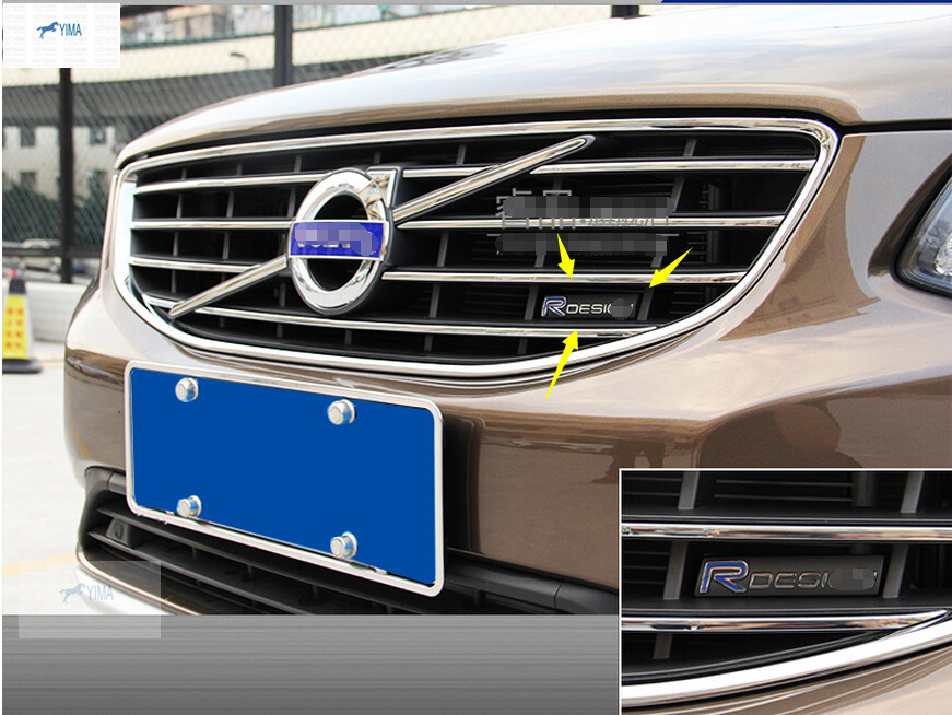 R design logo car grille standard cover trim 3d sticker 1pcs for volvo xc60 s60 v60 v40 2014 2015 in car stickers from automobiles motorcycles on