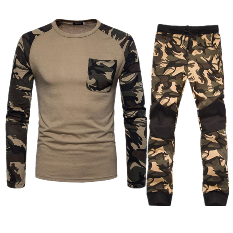 Trend Fashion Camouflage Tracksuit Set Men Track Suits Two Piece Casual Male Sweatshirt+Pants Spring Autumn Camo Mens Clothes