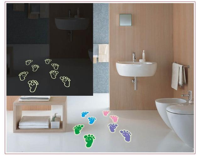 2017 Cute Feet Fluorescent Luminous Paste Stickers Children S Room Bathroom Wall Decorative Hostel Diy