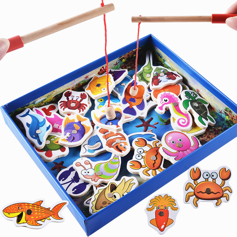 Baby Educational Toys 32Pcs Fish Wooden Magnetic Fishing Toy Set Fish Game Educational Fishing Toy Child Birthday/Christmas Gift 32 pcs setcolor changed diy jigsaw toys wooden children educational toys baby play tive junior tangram learning set