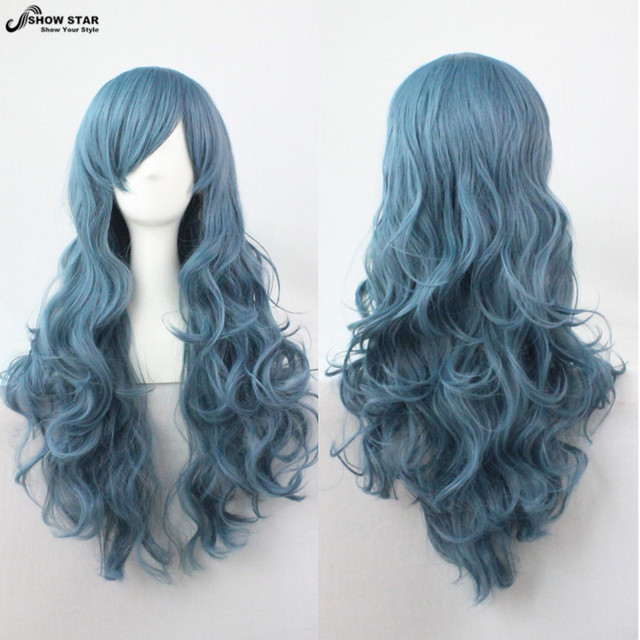 SHOWSTAR Lovely Lolita Rozen Maiden Smoke Blue Wig with Bangs Cosplay Long Wavy Curly Wig Synthetic Heat Resistant Wig Peruca