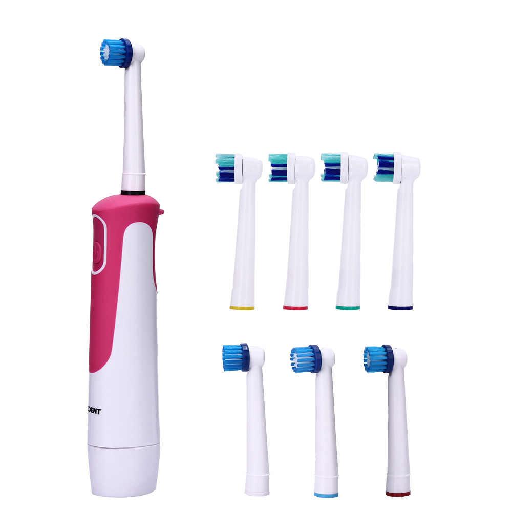 AZDENT Новая покупка 1 получить 8 головок электрическая зубная щетка роторного типа на батарейках зубная щетка отбеливание зубов для взрослых без зарядки