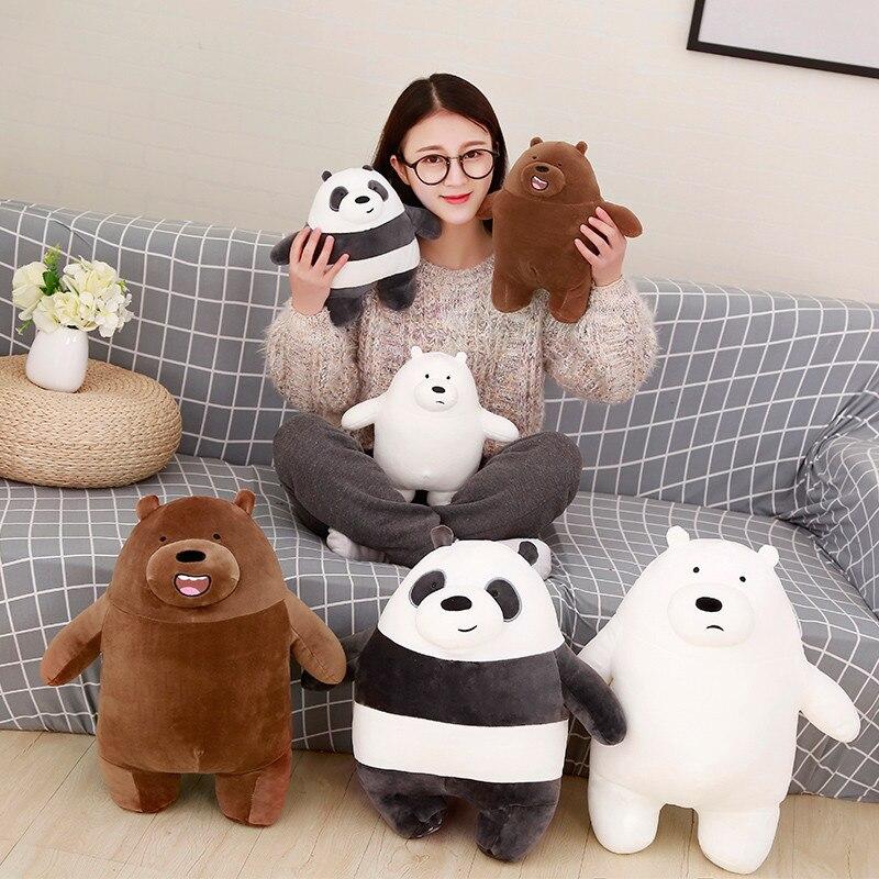 1pc 30cm New Fashion Bare bears Cartoon Bear Stuffed Plush Toy White Brown Bear Panda  Birthday Gift for Kids Children циркуль new 1 1 30 1cm 30cm