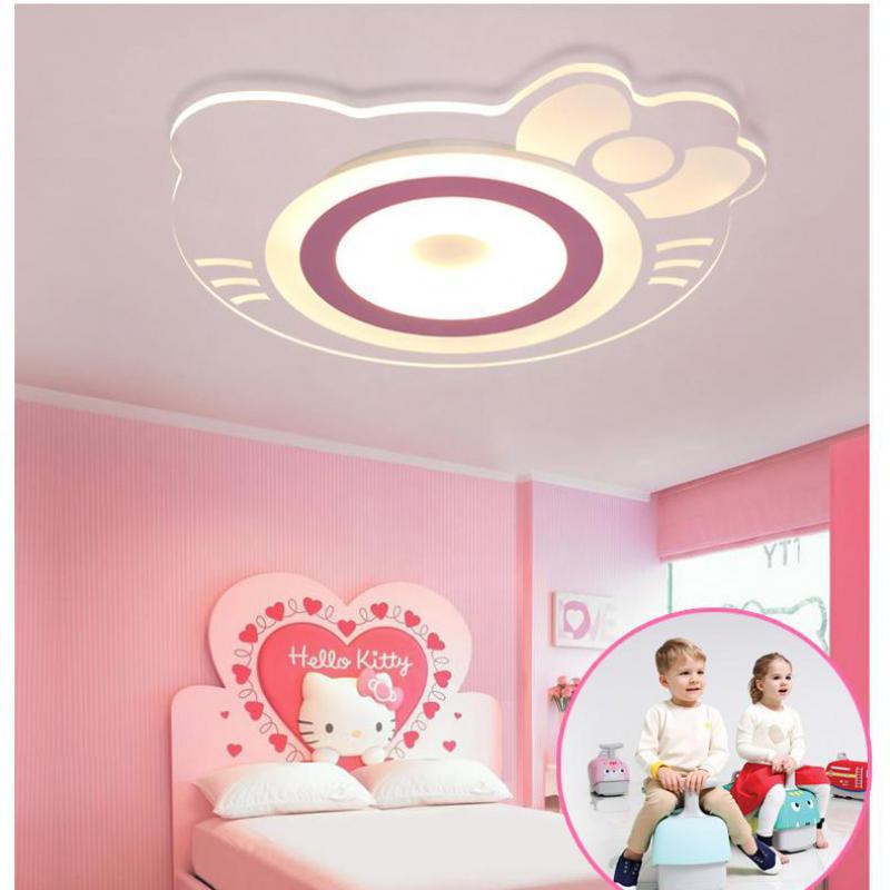 Детская комната потолочный светильник Комната принцессы для девочек креативная теплая кошка Hellokitty комната спальня детская комната Led Акриловый потолочный светильник