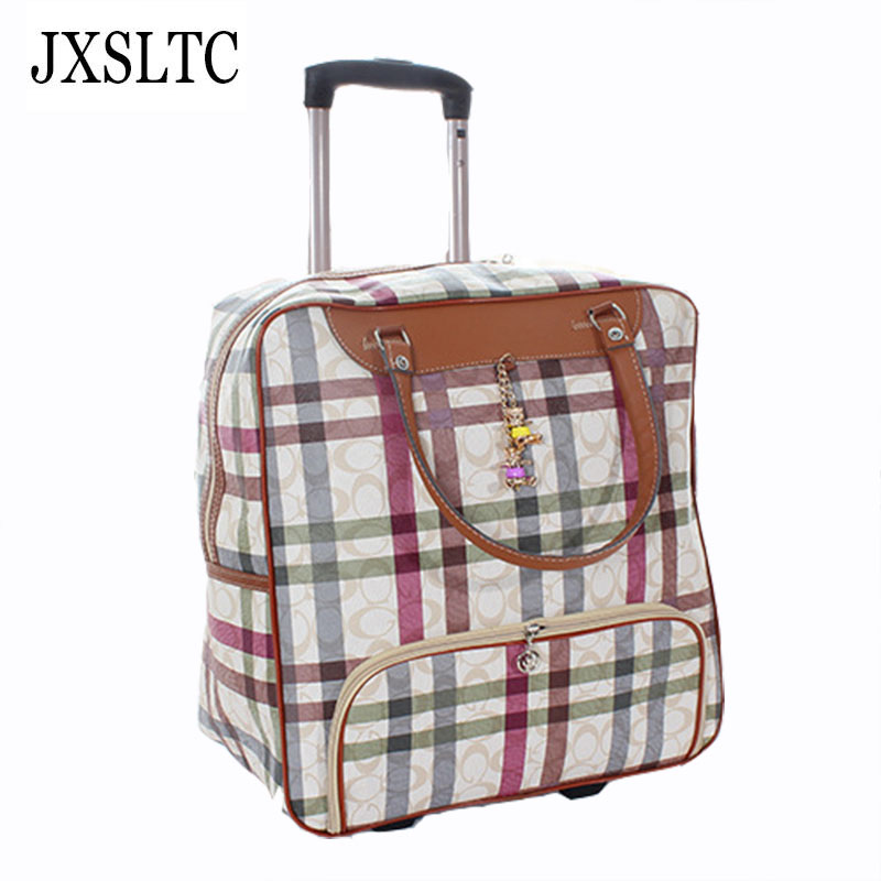 JXSLTC 2018 New Design Large-capacity Weekend Package Suitcases on Wheels Road Travel Designer Duffle Bags Shopping Bag Women new folding portable shopping bag shopping buy food trolley bag on wheels bag on wheels buy vegetables shopping organizer bag