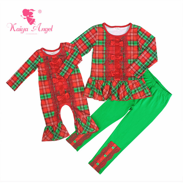 45968b72a Kaiya Angel Christmas Fall Toddler Girls Boys Clothes Costumes Red Green  Plaid Lace Red Bow Ruffles Newborn Winter Rompers