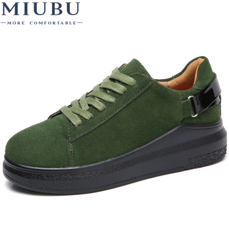 MIUBU 2019 Autumn Women Flats Women   Leather     Suede   Lace up Platform Sneakers Thick Heel Casual Boat Shoes Ladies Oxfords Shoes