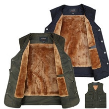 brieuces new Autumn and winter section mens vest thicker  lamb wool plus size S-3XL cashmere multi pocket cotton