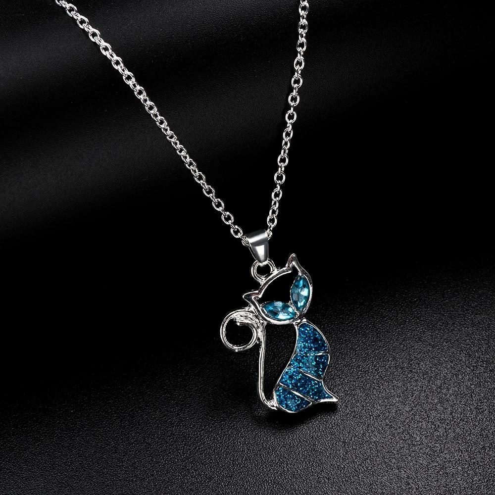 1pc Cute Cat Pendant Blue Opal Necklace Fashion