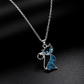 1pc Cute Cat Pendant Blue Opal Necklace Fashion Women's Animal Jewelry Trendy Jewelry Gift