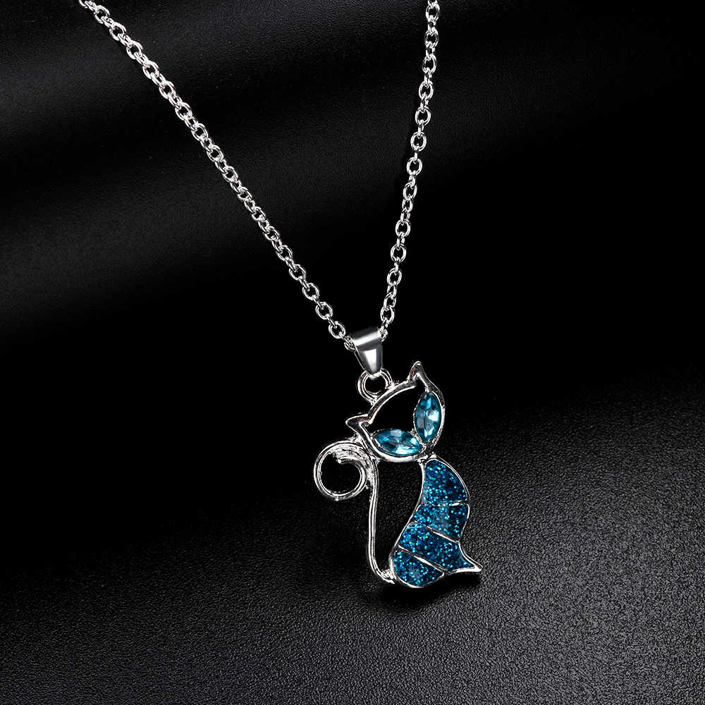 1pc Cute Cat Pendant Blue Opal Necklace Fashion Women's Animal Jewelry Trendy Jewelry Gift for Women