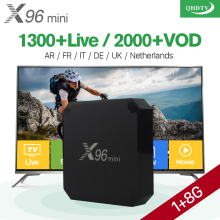 "X96 mini ""Android"" 7.1 ""Smart IP TV Box"" 4K ""Quad Core"" 1 metų QHDTV kodo prenumerata ""Europe Channels"" X96mini prancūzų arabų IPTV dėžutė"
